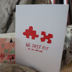 Handmade Feelings card - We Just Fit greeting card
