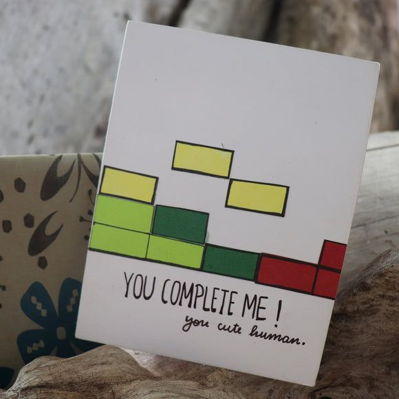 Handmade Feelings card - You Complete Me greeting card