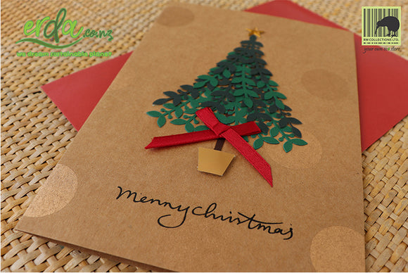 Handmade Handcrafted Christmas Tree Paper Christmas Greeting Cards