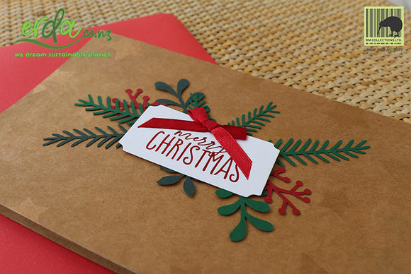 Handmade Handcrafted Christmas Bow Paper Christmas Greeting Cards