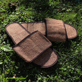 Jute Slip On Slippers Open - Drk Brwn
