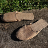 Jute Slip On Slippers Close - Lgt Brwn (size L)