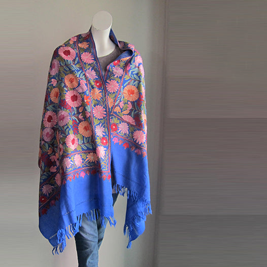 Pashmina Stole - Blue embroidered