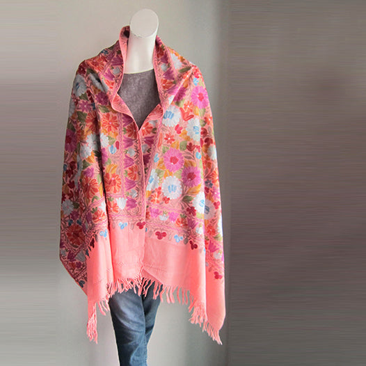 Pashmina Stole - Baby Pink embroidered