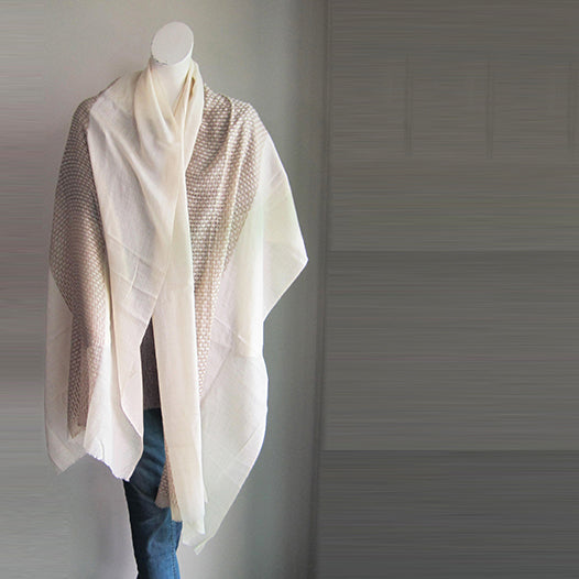 Pashmina Pure White and Grey stole