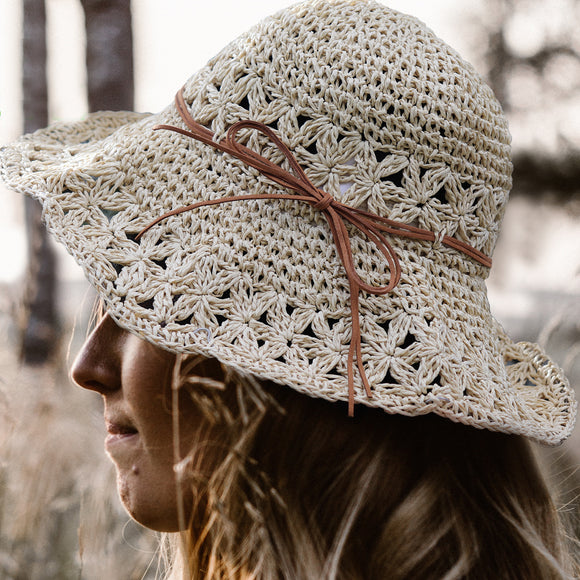 Crochet Straw Hats - Beige