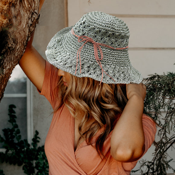 Crochet Straw Hats - Army Green