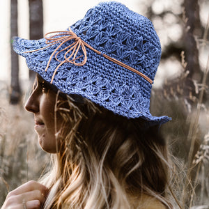 Crochet Straw Hats - Navy