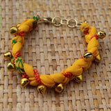Yellow with Beads and Bells - Handmade Vintage Cloth