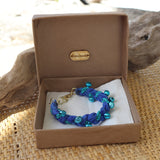 Blue with Blue Bells - Handmade Vintage Cloth Bracelets