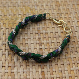 Green with Silver Beads - Handmade Vintage Cloth Bracelets