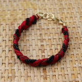 Red with Black Beads - Handmade Vintage Cloth Bracelets