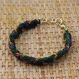 Green with Golden Beads - Handmade Vintage Cloth Bracelets