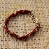 Red with Golden Beads - Handmade Vintage Cloth Bracelets