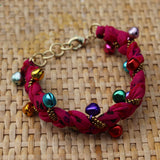 Pink with Multi Coloured Bells - Handmade Vintage Cloth Bracelets