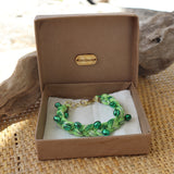 Green with Green Bells - Handmade Vintage Cloth Bracelets