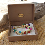 Fawn with Multi Coloured Bells - Handmade Vintage Cloth Bracelets