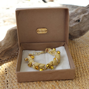Fawn with Golden Bells - Handmade Vintage Cloth Bracelets
