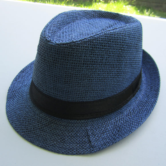 Men Cowboy Straw Hat - Navy Blue
