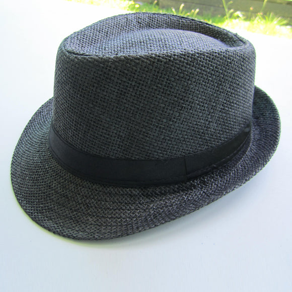 Men Cowboy Straw Hat - Black
