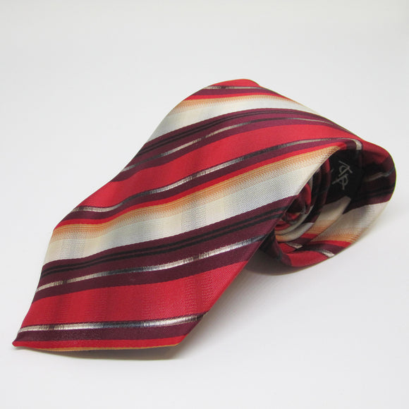 Dark and Light Red striped - Men Neck Tie