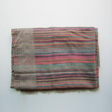 Pashmina - Grey with Multicoloured Striped Border Stole
