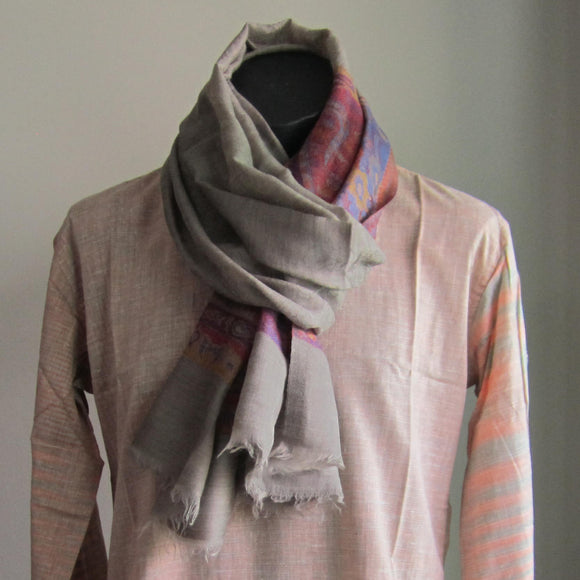 Pashmina - Beige with Pink and Purple Self patterned Border Stole