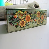 Paper Mache Tissue Paper Box (Grey with yellow flowers)