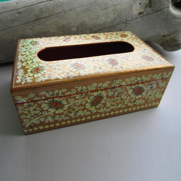 Paper Mache Tissue Paper Box (Gold with white flowers)