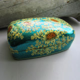 Paper Mache Gift Box - Blue (Yellow flowers)