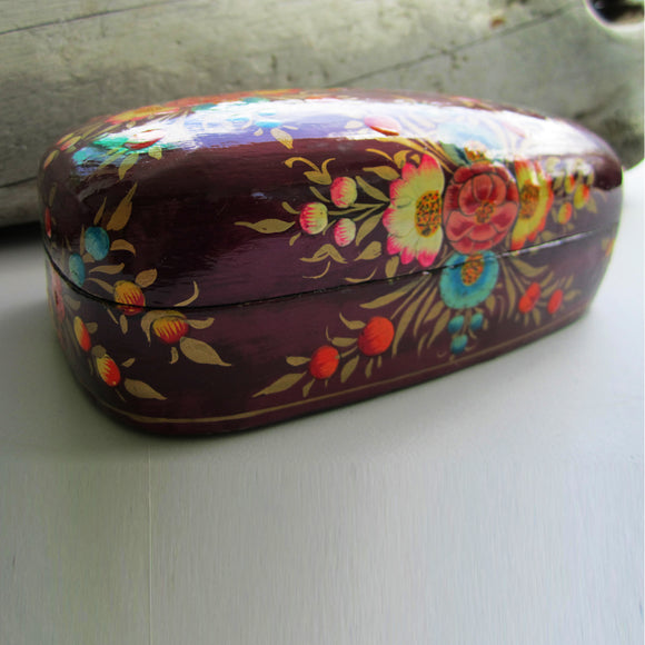 Paper Mache Gift Box - Purple (Yellow and Orange flowers)