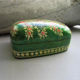 Paper Mache Gift Box - Green (Yellow flowers)