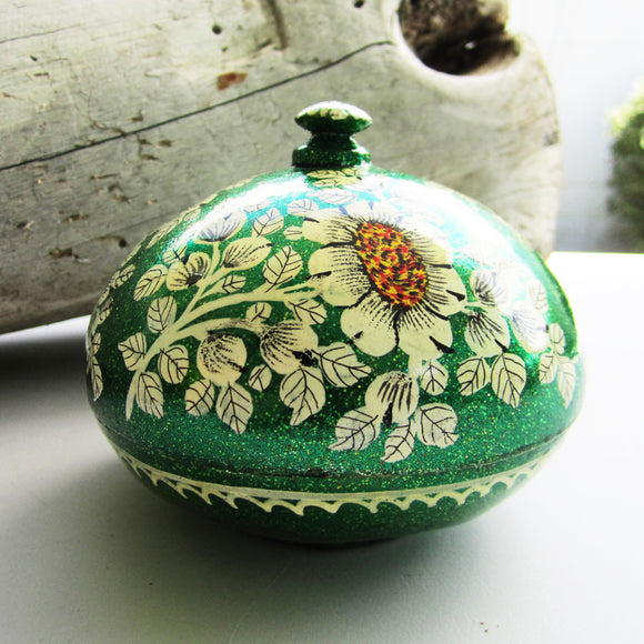 Paper Mache Round Gift Box - Green (Yellow flowers)