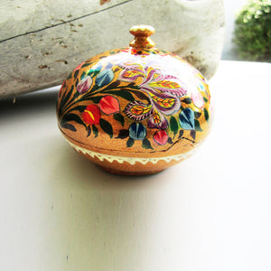 Paper Mache Round Gift Box - Gold (Multicoloured flowers)