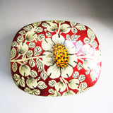 Paper Mache Square Trinket Box - Red (White flowers)