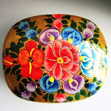 Paper Mache Square Trinket Box - Gold (Multicoloured flowers)