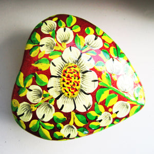 Paper Mache Heart Trinket Box - Red (White, Yellow and Green flowers)