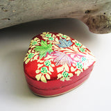 Paper Mache Heart Trinket Box - Red (Yellow and Green flowers)