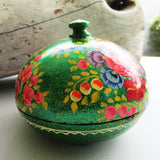 Paper Mache Round Gift Box - Green (Orange, Yellow, Blue and Yellow flowers)