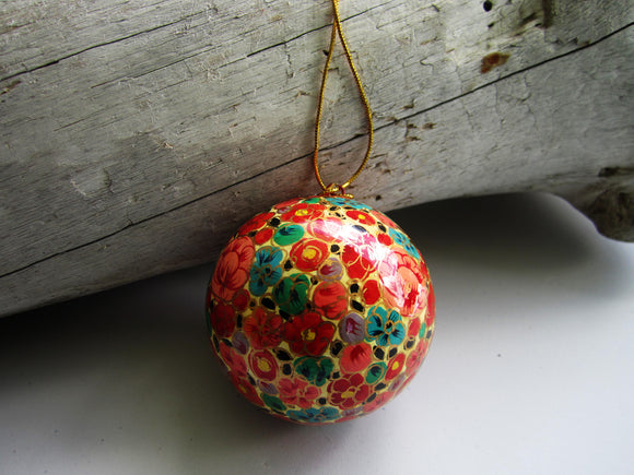 Paper Mache Ball - Orange (Yellow, Pink, Green and Blue flowers)