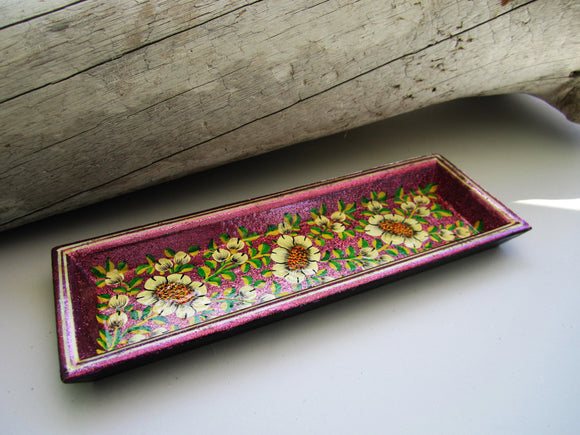 Paper Mache Tray - Purple (Yellow flowers)