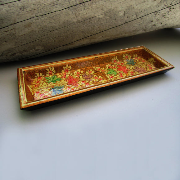 Paper Mache Tray - Golden (Yellow and Green flowers)