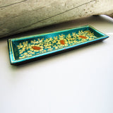 Paper Mache Tray - Blue (Yellow flowers)