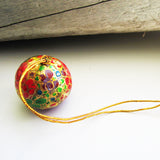 Paper Mache Ball - Gold, Red, Purple, Green and Blue flowers