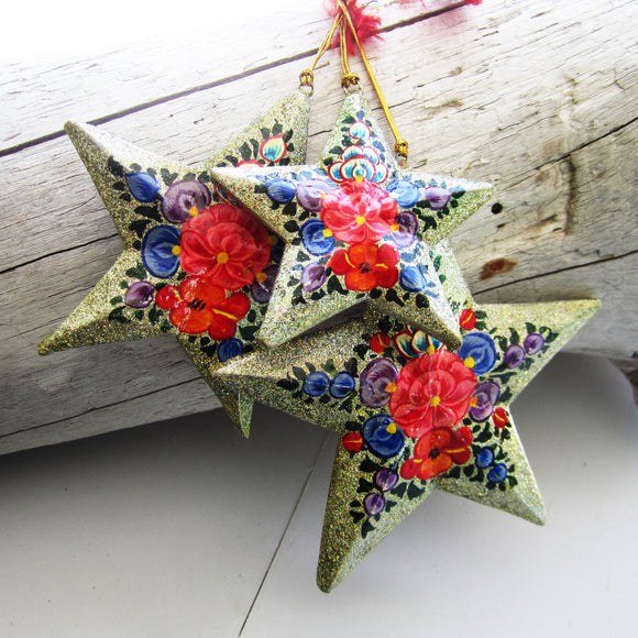 Paper Mache Star - Grey (Red flowers)