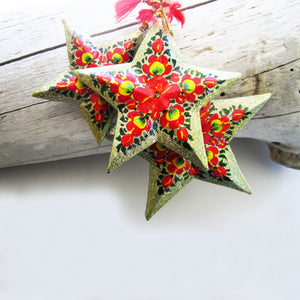 Paper Mache Star - Grey (Red and Yellow flowers)