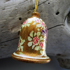 Paper Mache Bell - Golden (White and Red flowers)