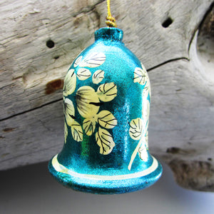 Paper Mache Bell - Blue (Yellow flowers)