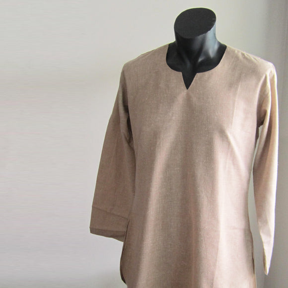 Beige full sleeve 100% cotton summer shirts