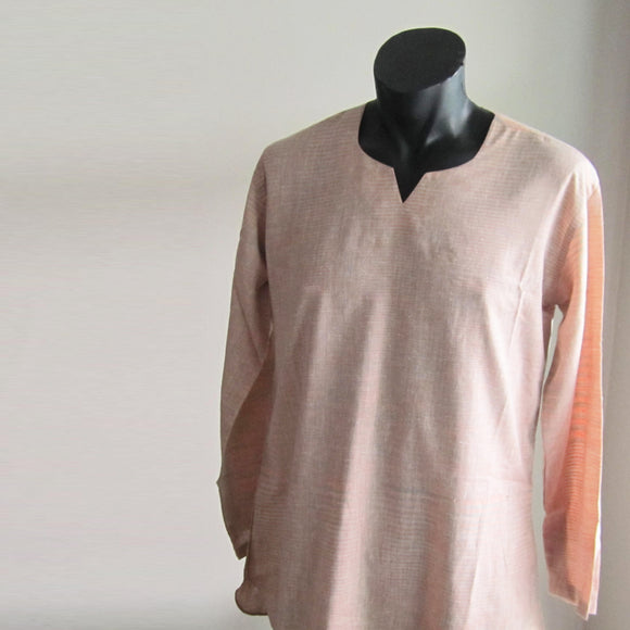 Peach and Grey stripes full sleeve 100% cotton summer shirts